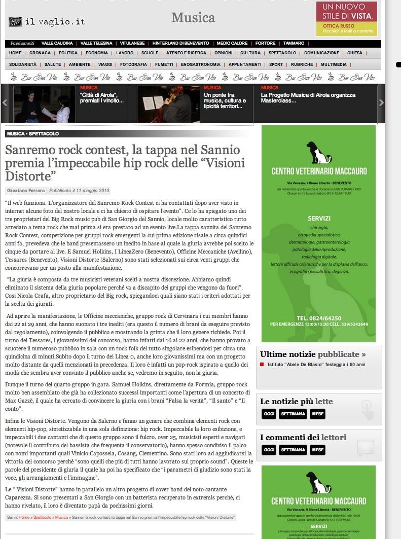 Articolo IL Vaglio 11/05/2013